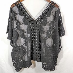 MES Fashion Black Lace Batwing Top